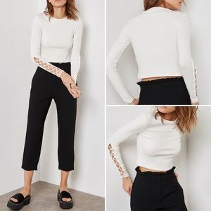 Topshop Lattice Sleeve Ribbed Crop Top
